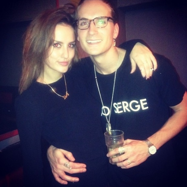 Made In Chelsea's Lucy Watson parties with Oliver Proudlock in Bristol. (18 December 2013).