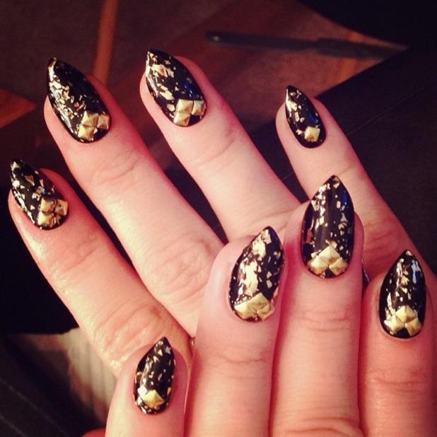 Demi Lovato shows off gold leaf and studded manicure on Instagram - 15 December 2013