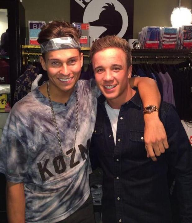 TOWIE's Joey Essex hangs out with Sam Callahan in his Fusey store. (20 December).