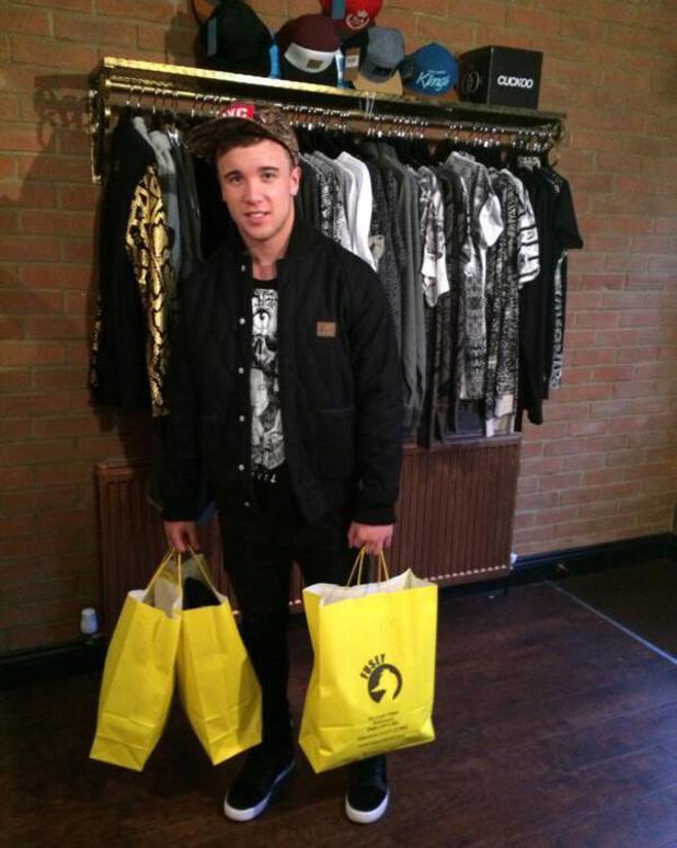 Sam Callahan visits Joey Essex's Fusey store in Brentwood, Essex - 16.12.2013