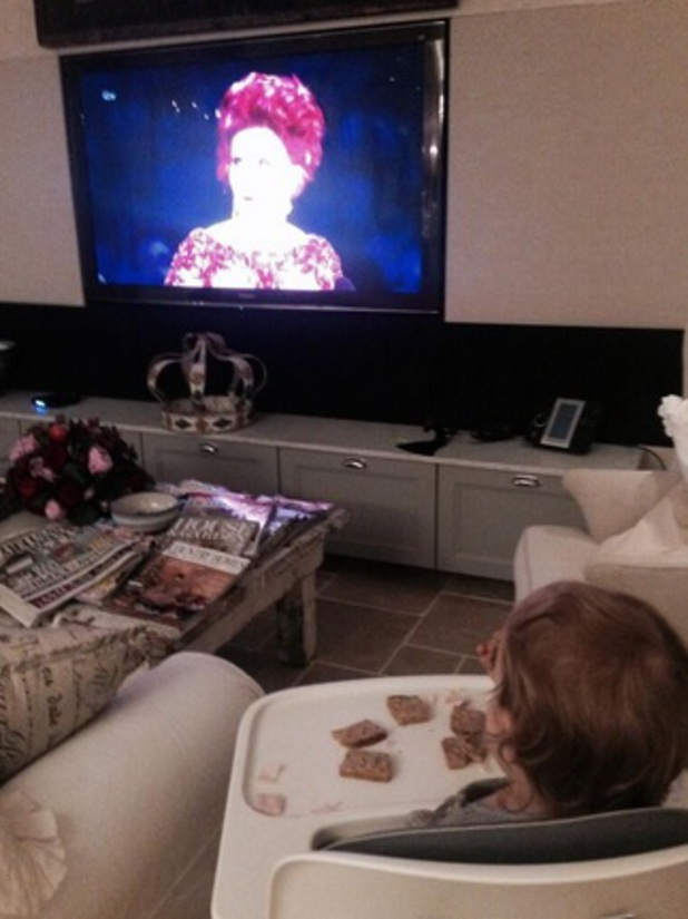 Jack Osbourne shares photo of daughter Pearl watching The X Factor 2013 final, 15 December 2013