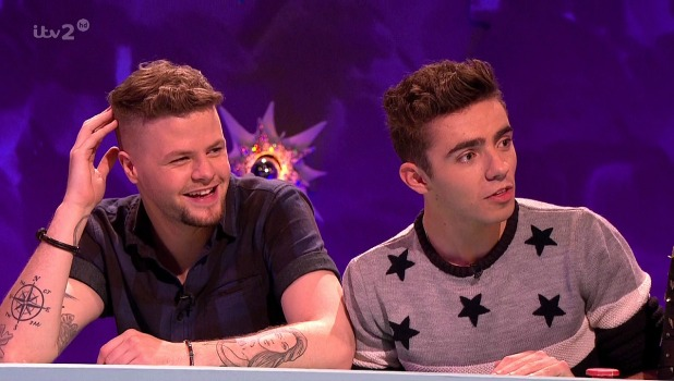 Jay McGuiness and Nathan Sykes of The Wanted appear on Celebrity Juice, October 2013