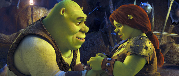 Shrek with Princess Fiona in the popular animation