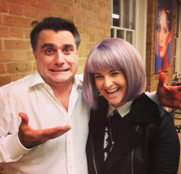 Kelly Osbourne with hairdresser, Lino Carbosiero after having hair cut into bob, 28 December, 2013