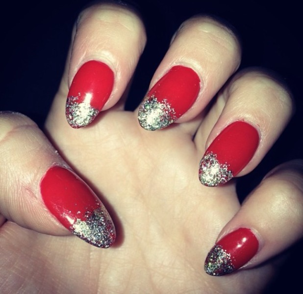 Kimberley Walsh shows off her festive red and silver tipped nails, 23 December 2013