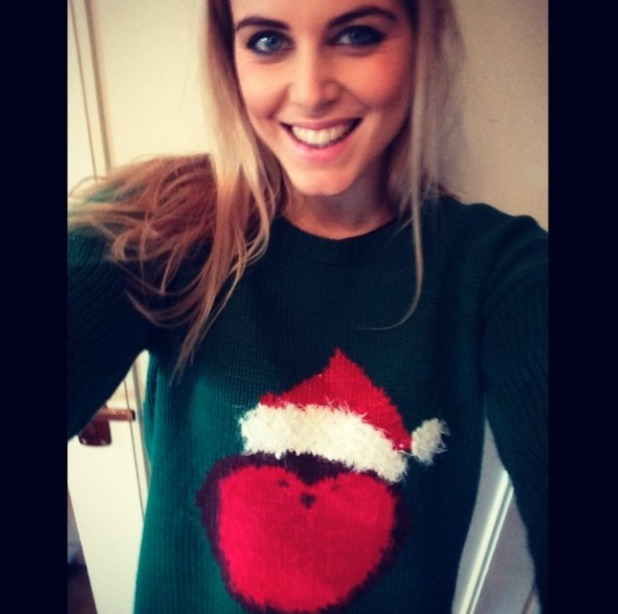 Ashley James shows off her Christmas jumper, 16 December 2013