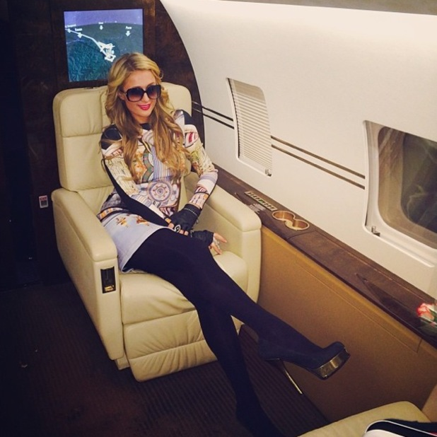 Paris Hilton jets from Ufa to Moscow, Russia - 21 December 2013