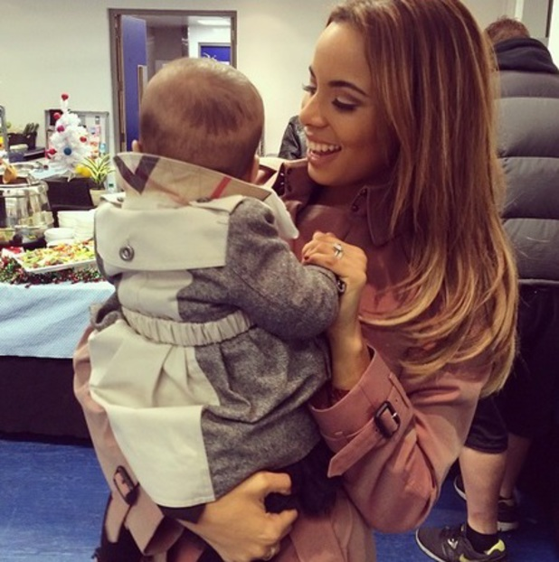 Rochelle Humes takes baby Alaia-Mai to the final JLS concert, 22 December 2013