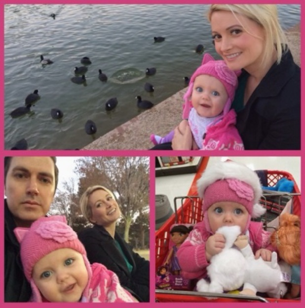 Holly Madison celebrates her birthday with husband Pasquale and daughter Rainbow, 23 December 2013
