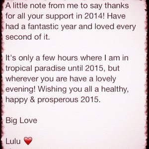 Luisa Zissman posts New Year message 31 December