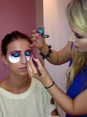 Ferne McCann gets her Ariel make-up done for Sam Faiers' Disney-themed birthday party, 1 January 2014