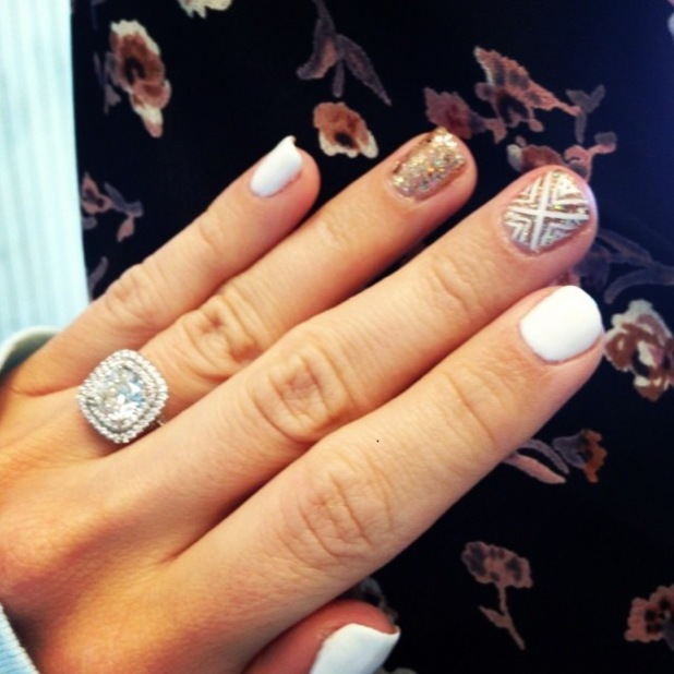 Ashley Tisdale shows off her white and gold glitter nail art manicure on Instagram - 28 December 2013