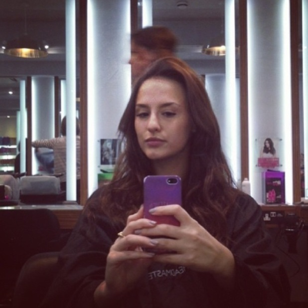Made In Chelsea's Lucy Watson snaps a selfie at the hairdresser - 31 December 2013