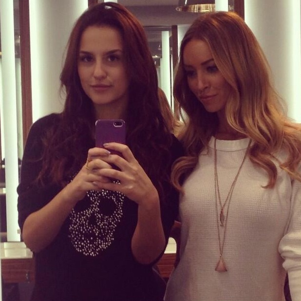 Lucy Watson snaps a selfie with Lauren Pope after having Hair Rehab London extensions fitted - 31 December 2013