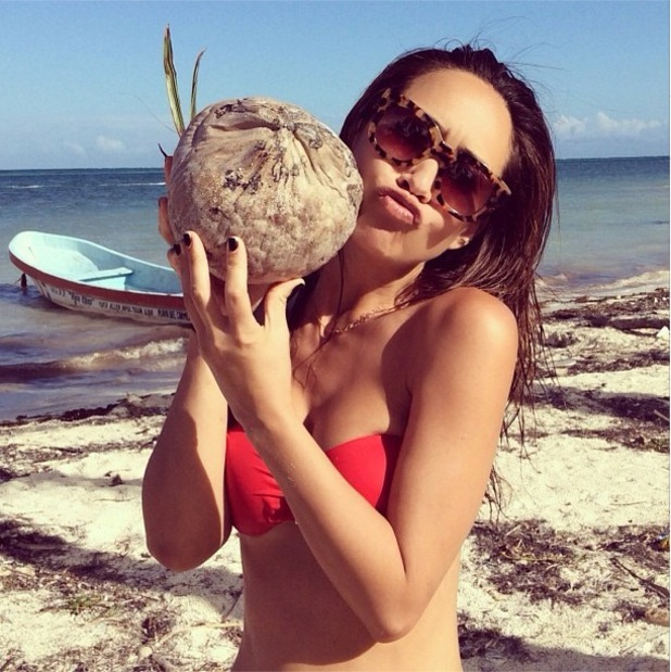 Myleene Klass poses with a coconut in Mexico - 2 Jan 2013