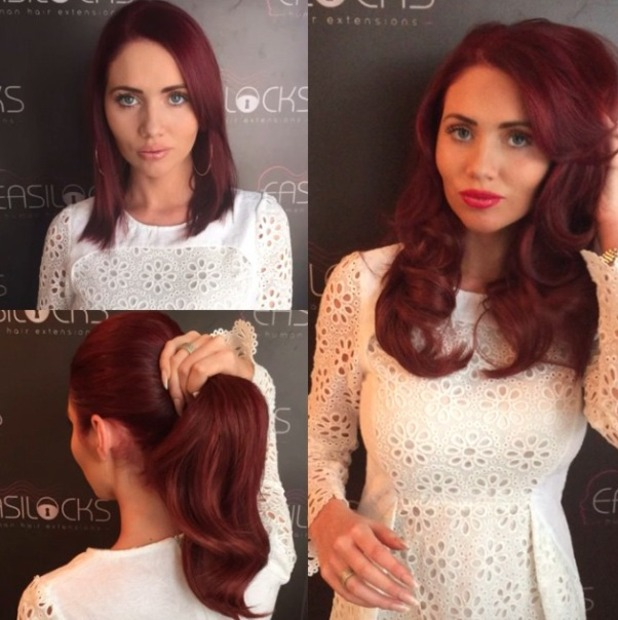Amy Childs has new Easilocks extensions fitted by Shane O'Sullivan, 30 December 2014