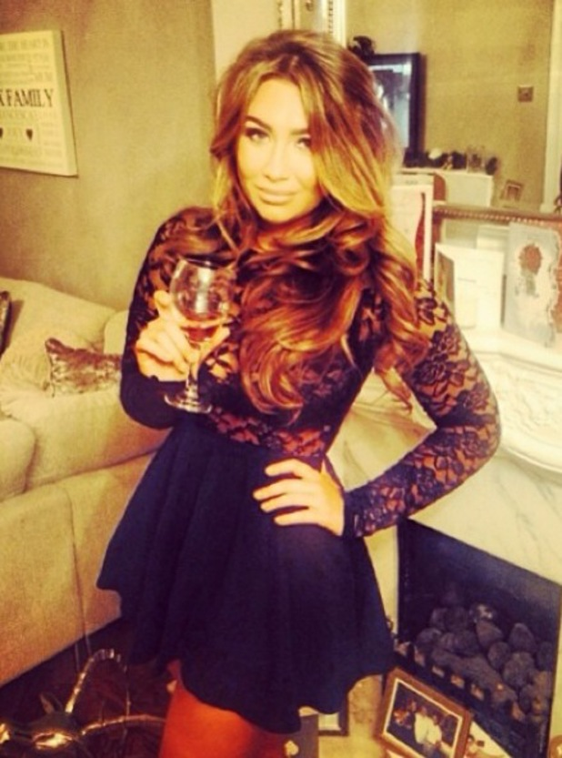 Lauren Goodger celebrates New Year's Eve in black dress with Frankie Essex - 31.12.2013