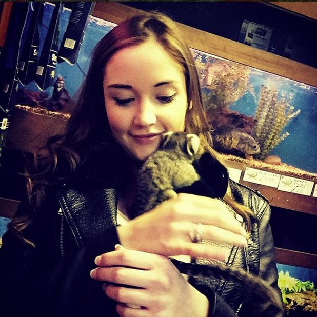 Jacqueline Jossa holds a monkey in photo posted to Instagram by Dan Osborne, 29 December 2014