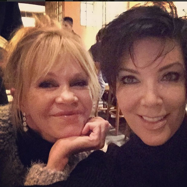 Kris Jenner and Melanie Griffith together in Aspen, 29 December 2014