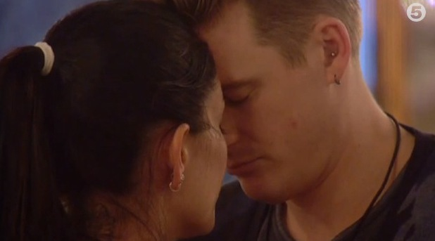 Celebrity Big Brother- Lee Ryan and Jasmine Waltz kiss in the kitchen