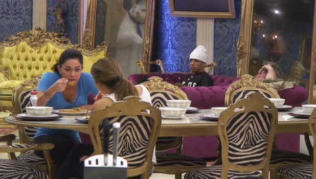 CBB's Jasmine Waltz talks about Liz Jones to Luisa Zissman while Dappy looks on - 9 January 2014