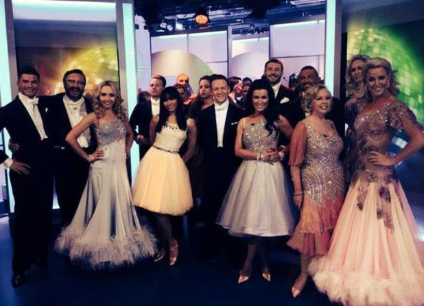 Strictly Come Dancing celebrities who are dancing on the live tour perform on The One Show. Pictured backstage: Abbey Clancy, Natalie Gumede, Natalie Lowe,