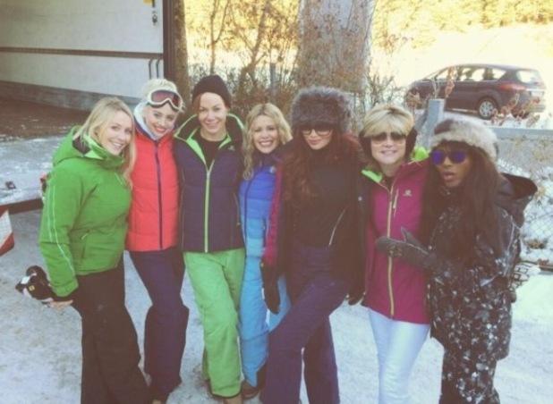 Amy Childs in Austria filming The Jump with her co-stars Sinitta, Kimberly Wyatt, Tara Palmer-Tomkinson, Anthea Turner and Melinda Messenger. (21 December 2013)