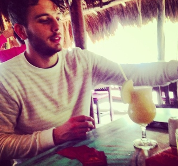 Caroline Flack shares a photo of her boyfriend Jack Street while the couple enjoy a holiday in Mexico. (5 January 2014).