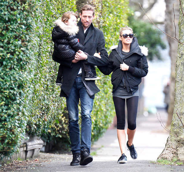 Abbey Clancy and Peter Crouch out and about with daughter Sophia, London, Britain - 09 Jan 2014