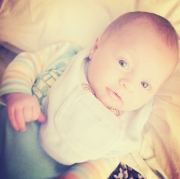 Union J's JJ Hamblett and Caterina Lopez share new pic of baby son Princeton. (6 January 2014).