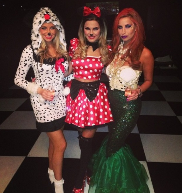 Ferne McCann dresses up as Ariel from The Little Mermaid for Sam Faiers' Disney themed birthday party - 1.1.2014 With Sam Faiers as Minnie Mouse.
