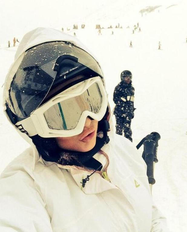 Amy Childs in Austria filming The Jump (6 January 2014)