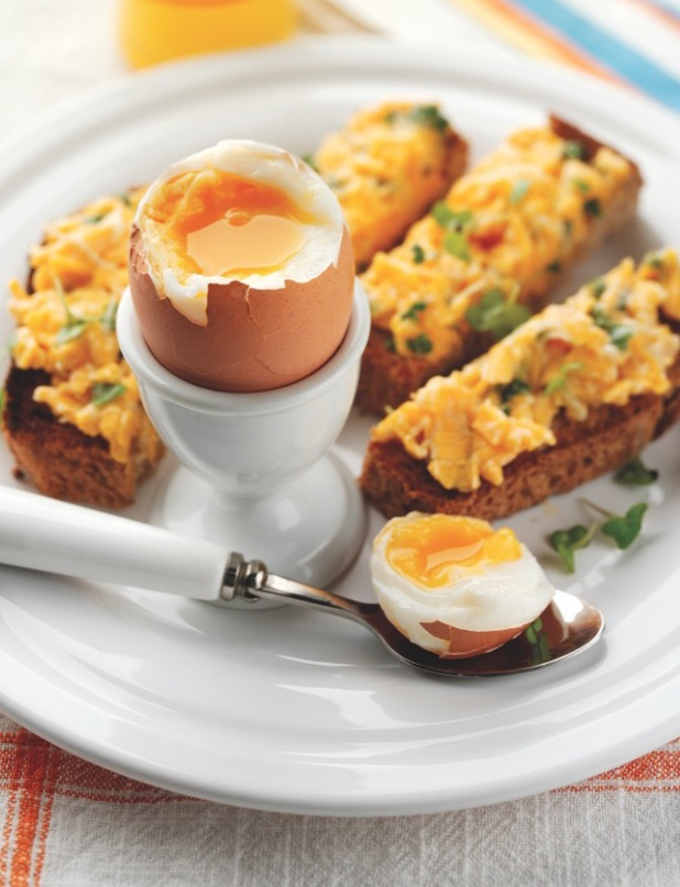Boiled eggs cheese soldiers