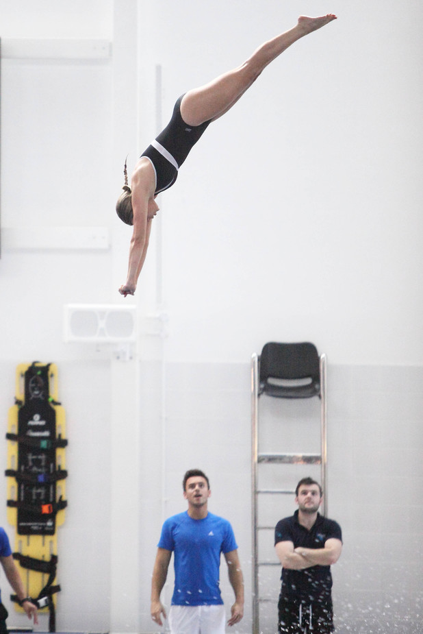 Anna Williamson takes part in ITV's diving show Splash! with Tom Daley - January 2014