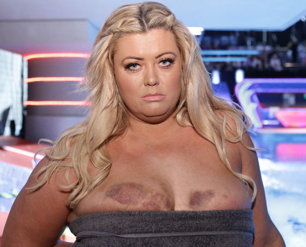 Gemma Collins prepares to take her dive from the 3 metre board on Splash! 4 Jan 2014