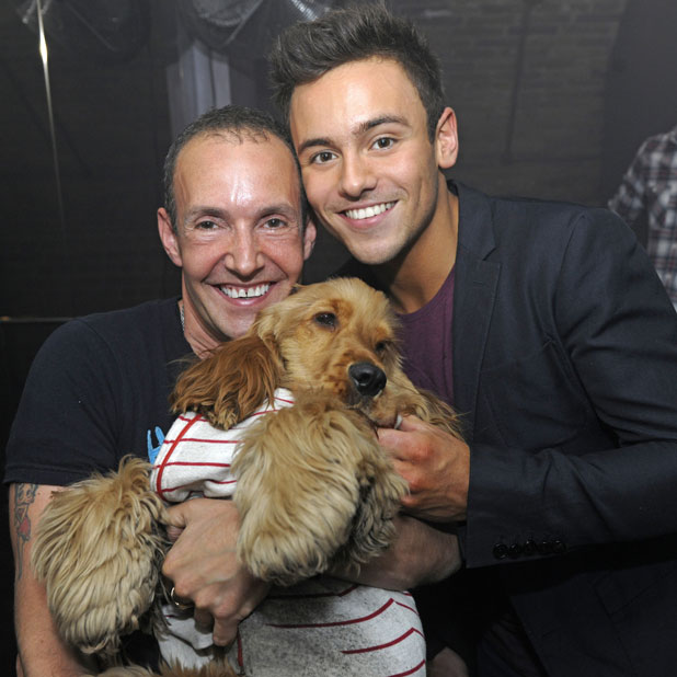 Tom Daley poses for a picture with G-A-Y owner Jeremy Joseph whilst enjoying a night out at the club, 4 January 2013