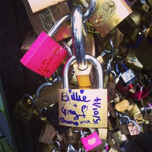 Pregnant TOWIE star Billie Faiers enjoys romantic Paris trip with boyfriend Greg Shepherd - 16 January 2014 Lovelock Bridge padlock from them and bump