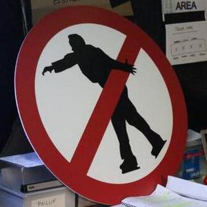 Todd Carty jokes about warning sign following his Dancing On Ice performance. Posted to Twitter on 13 Jan 2014.