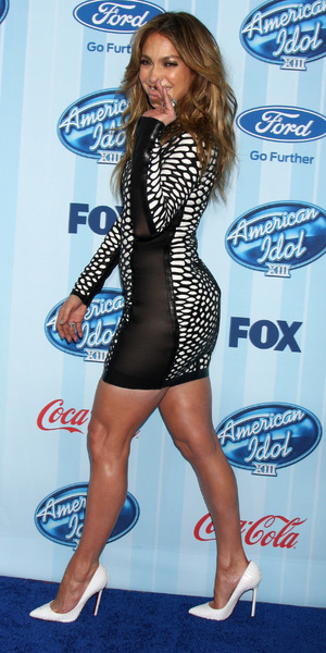 Jennifer Lopez wears a figure hugging black and white mini dress and white high heels ahead of American Idol XIII - 14th January, 2014, Westwood, USA
