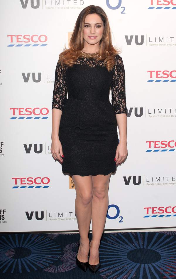 Kelly Brook wears a black lace shift dress at the Nordoff Robbins Rugby fundraising dinner - 15th January 2014, London