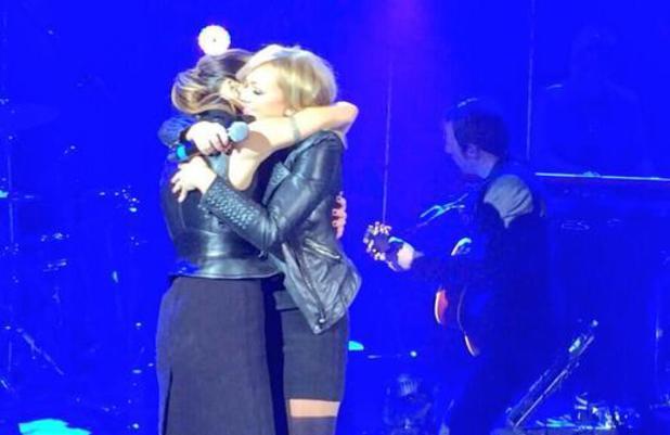 Celebrities at Mel C Sportys 40 concert at the Shepherds Bush Empire, London, Britain - 11 Jan 2014 Emma Bunton, Melanie Chisholm