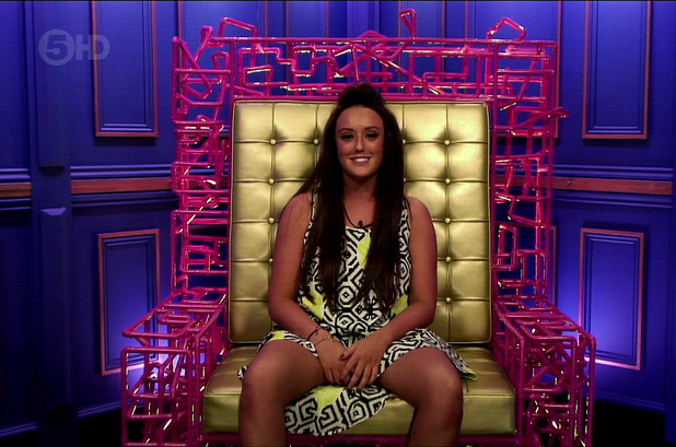 Celebrity Big Brother. Shown on Channel 5 HD - Charlotte Crosby in the diary room. 09/13/2013.