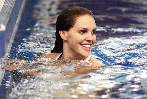 Danielle Lloyd in red swimsuit for Splash - 13 January 2014