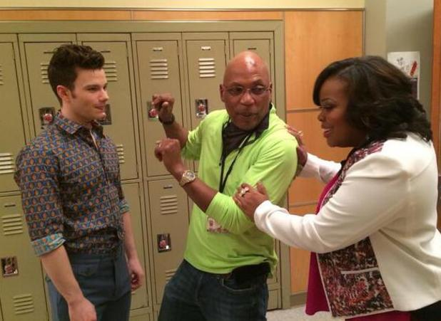 Amber Riley and Chris Colfer with TV producer Paris Barclay filming for Glee's 100th episode. (14 January 2014).