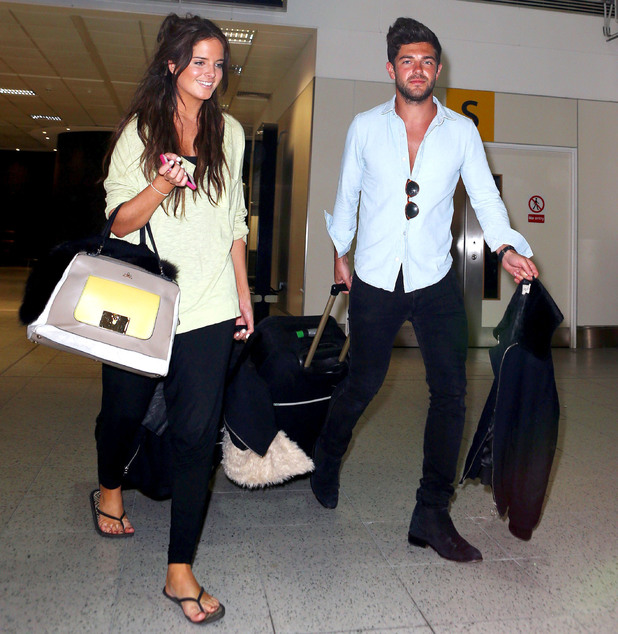 Alex Mytton and Binky Felstead arrive at Gatwick Airport after Goa holiday, London, Britain - 12 Jan 2014