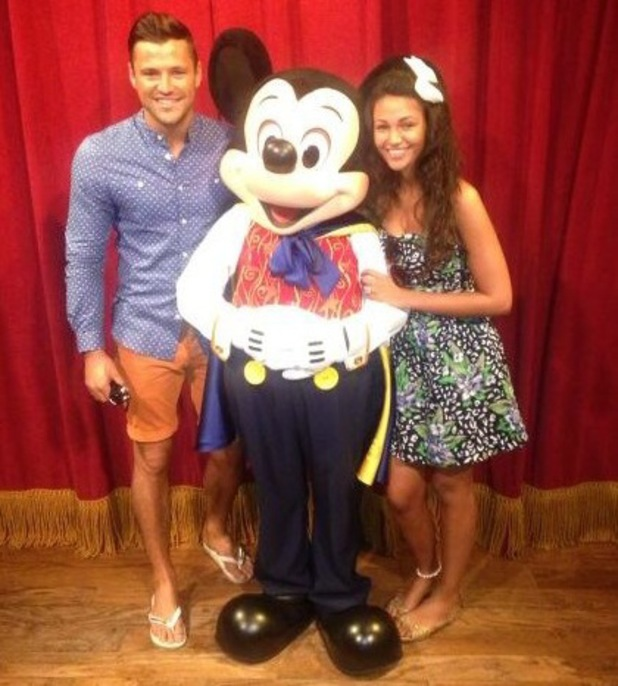 Mark Wright and Michelle Keegan pictured with Mickey Mouse during holiday in Florida - tweeted Jan 2014