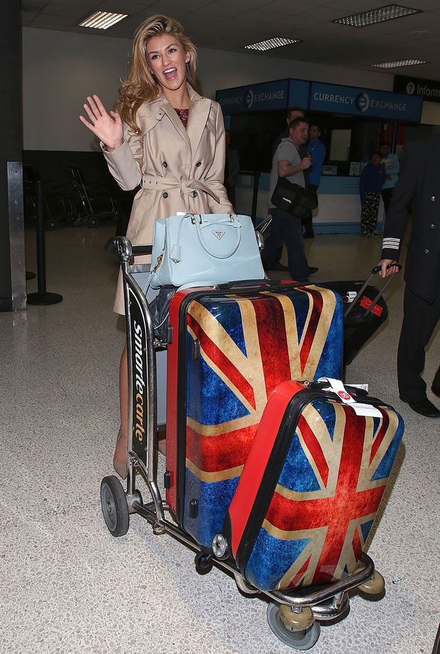 Amy Willerton arrives at LAX with an eggshell blue Prada handbag and union jack luggage - 13.1.2014