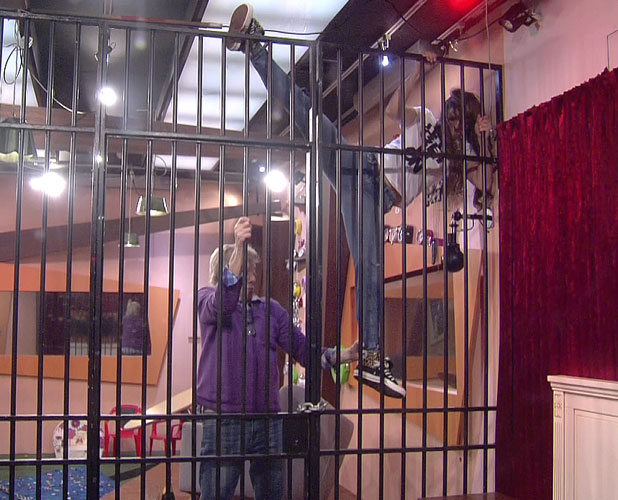 Celebrity Big Brother 2014: Luisa and Lionel are sent to the annoying room as part of the democracy task, aired 14 January 2014