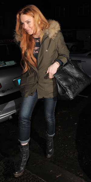Lindsay Lohan heads to a friends house in West London to celebrate their birthday, 14 January 2014