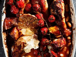 Easy one pot Nando's style Spicy Chicken Drumsticks & Butternut Bake